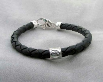 CANCER - Silver and  Braided Leather Bracelet
