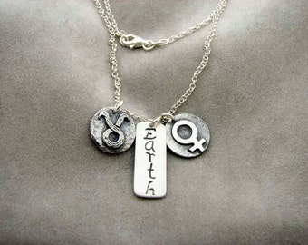 TAURUS Sign with Element EARTH and Ruling Planet VENUS. Silver Necklace