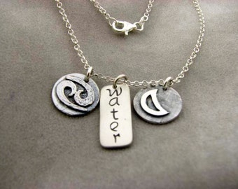 CANCER Sign with Element WATER and Ruling Planet MOON. Silver Necklace