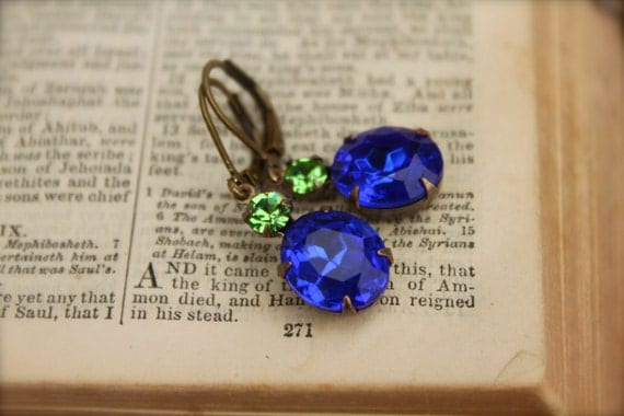 Sapphire Vintage Rhindestone, Swarovski Crystal Earrings