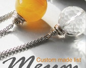 Custom made list for purple lariat necklace