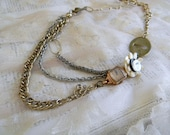 Marilyn Repurposed Multi Chain Necklace with 14kt Gold Antique Watch