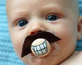 Tom Selleck Custom Hand Painted & Hand Cut Brown Mustache Pacifier by PiquantDesigns