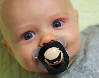 The Goatee Custom Hand Painted & Hand Cut Black Mustache Pacifier