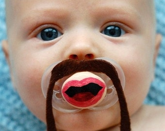 Fu Manchu Custom Hand Cut and Hand Painted Mustache Pacifier by PiquantDesigns