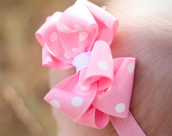 Baby Bow, Double Layer Polka Dot Headband, Bow,  ANY color, baby headband, Baby Birthday, baby girl, headband, Bow, Pink Bow, Kinley Kate
