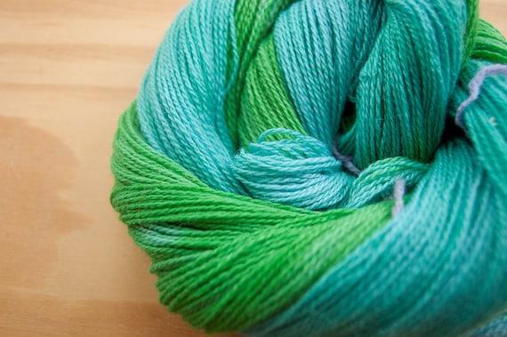 Blue Green Cashmere Lace Yarn