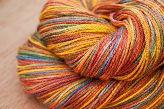 Holiday Sale - Free Shipping - Jeweled Rainbow -  SW Merino Silk Sock Yarn