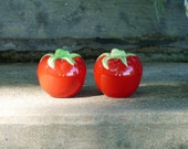 Juicy Vintage Tomato Salt and Pepper Shakers Mint Tomatoes Red Kitchen