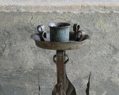 Nice Old Wrought Iron Prim Primitive Handmade Candlestick Candle Holder Taper Metal Leaves and Verdigris Patina Rustic Cabin Farmhouse Decor