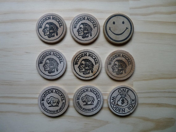 Instant Collection of Wooden Nickels Nickles Indian Head Buffalo Smiley Face Buck Bar Tokens Drinks Etc