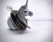 Fantasy Unicorn Necklace - MADE TO ORDER - unique, charm, taxidermy, plastidermy, gift under 40 dollars, woodland, , horned creature