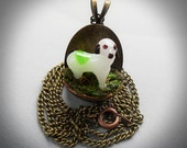Portable Pet Dog Necklace - White, glass dog, pup, 3D, real moss, gift under 20 dollar, playful, love, fun, black white dog, birthday