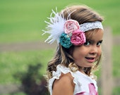 Gorgeous Triple Rosette Headband in Hot Pink, Light Pink and Aqua with White Lace headband - All Ages Headband - Great Photo Prop