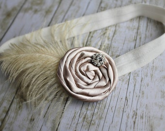 Gorgeous Champagne Rosette Headband with Rhinestone and Feather Details - Newborn /  Baby Girl and Toddler Headband - Great Photo Prop