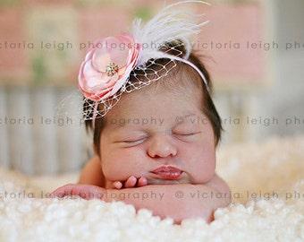 Adorable Vintage Inspired Pink  Flower Headband - Baby Girl Toddler Satin Flower Headband - Great Photo Prop