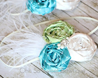 Gorgeous Triple Rosette Baby Girl Headband in Ivory, Green and Turquoise Blue - All Ages Headband - Great Photo Prop