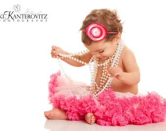 Adorable Hot Pink Light Pink Satin Rosette Baby Girl Toddler Headband - Great Photo Prop