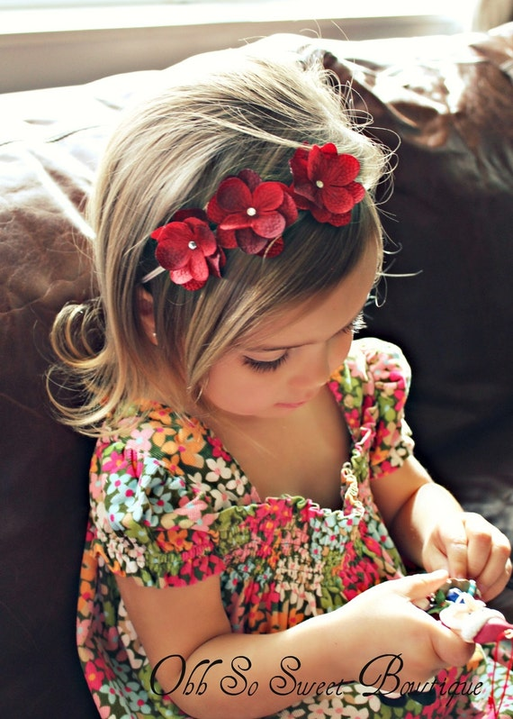 Reserved Listing for Sasha - Cute Red Hydrangea Flower Headband - Baby Girl Toddler Headband