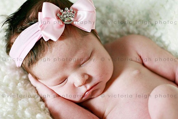 Baby Girl Pink Princess Pink Hair Bow with Nylon Headband