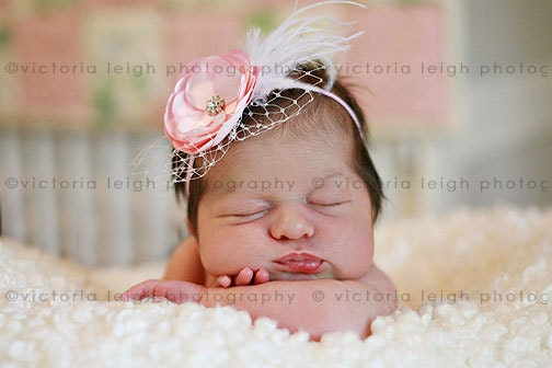 adorable vintage inspired pink flower headband baby girl. Black Bedroom Furniture Sets. Home Design Ideas