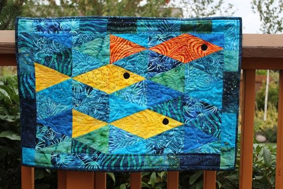 Quilted Batik Fish Wall Hanging