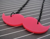 SALE Hot Pink Laser Cut Acrylic Mustache Necklace