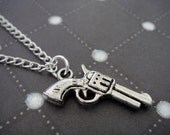 Tiny Silver Gun Charm Necklace