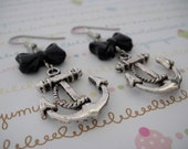 Super Cute Silver Anchor with Black Bow Earrings