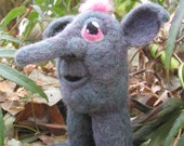 Gretchen Gronk OOAK Needle Felted Grey and Pink House Monster