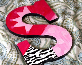 Pink and Black 9' Rocker Chick Wooden Letters
