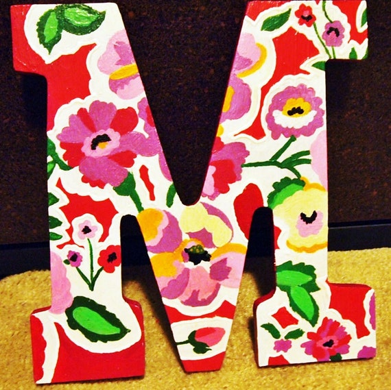Pink Green and White Flower 9 Inch Letters