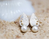 cuttlefish cast earrings with freshwater pearls and 14k gold accent- Mermaid Tears