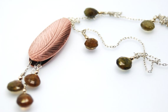 feather necklace in copper, sterling silver, and 14k gold with tourmaline briolettes- Feather Pod