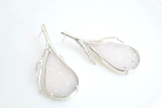 RESERVED- drusy twig earrings in sterling silver- made to order