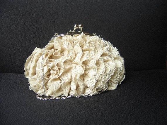 Adorable Puffy Lace Ruffle Clutch/Purse - BEIGE
