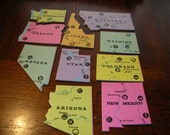 Western United States Puzzle Lapel Pin Vintage Upcycled