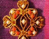 Vintage Brooch- faux coral, topaz rhinestones, faux pearl