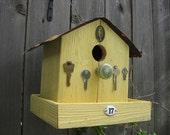 Embellished Yellow Birdhouse Bird Feeder:  Birdie Bed & Breakfast
