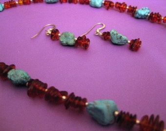 Lori:  Turquoise and Amber Necklace and Earring Set
