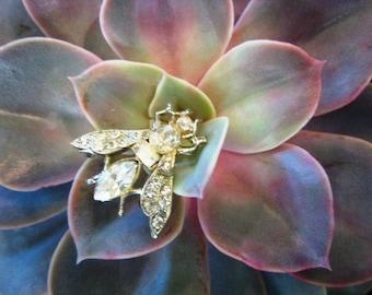 Vintage Rhinestone Moth Brooch