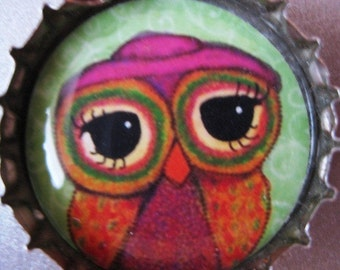Adorable Owl Bottle Cap Pendant:  Series 1