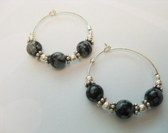 Snowflake Obsidian and Sterling Silver Hoop Earrings