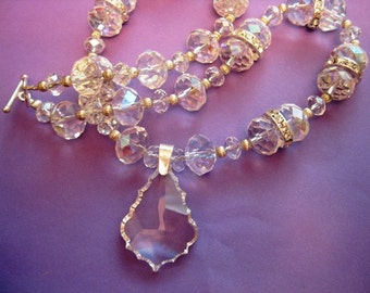 Clear Swarovski Crystal and Sterling Silver Necklace