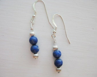 Lapis and Sterling Silver Dangle Earrings
