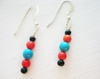 Turquoise, Coral and Onyx Dangle Earrings