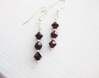 Siam (Garnet Color) Swarovski Crystal Dangle Earrings