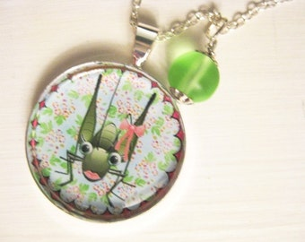 Silver Necklace and Pendant with Cute Picture and Recycled Glass Dangle