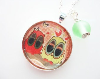 Silver Necklace with Owl Pendant and Swarovski Crystal or Recycled Glass Dangle