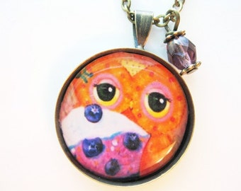 Owl Eyes Pendant in Bronze with Swarovski Crystal or Recycled Glass Dangle